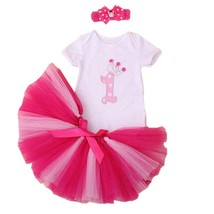 3PCs per Set Baby Girl Crown Dress Infant 1st Birthday Party Outfit  Pin... - $20.40