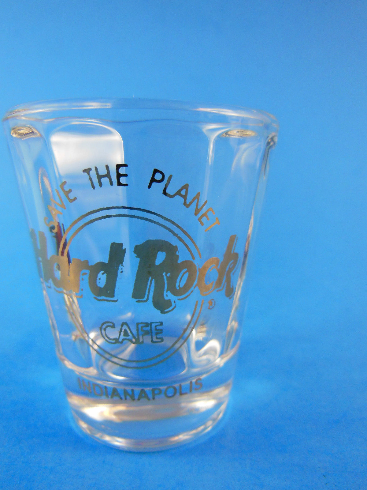 Hard Rock Cafe Shot Glass Indianapolis Gold Letters NICE QUALITY