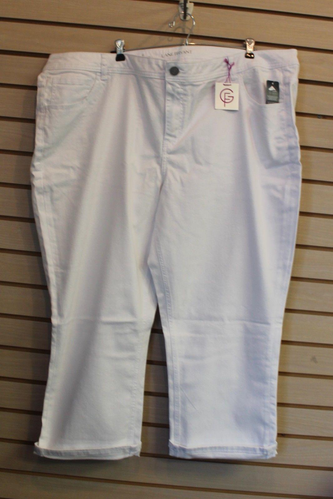 NEW WOMENS LANE BRYANT PLUS SIZE 28W GENIUS FIT WHITE DENIM CROP CAPRI PANTS - $17.41