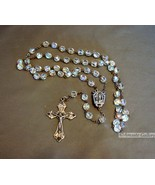 Vintage Crystal Rosary Aurora Borealis Crystal Beads EAU DE LOURDES ROSA... - $21.99