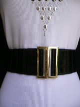 New Women Belt Wide Black Faux Leather Crocodile Stamp Gold Buckle XS S M L - $14.69