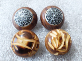 Lot of 2 Vintage Retro Carved Wood round clip on earrings - $29.70