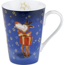 Rudolph Mug Set Coffee 4 pc Reindeer Mugs Christmas Red Nosed Ceramic Gift - $49.36