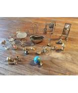 Vtg  Doll House Furniture Mid Century BRASS Mir... - $99.99