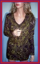 NEW M 8 10 PURPLE GREEN GOLD BLACK WOMEN TEE T TUNIC PULLOVER TOP SHIRT NWT - $14.99