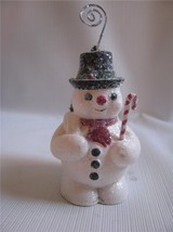 Snowman Ornament Place Card Holder Paper Pulp Bottle Brush Tree Retro Style - $13.81