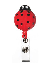 Retractable Lady Bug Black Red Medical Badge Deluxe 3-D ID Tag Clip Hold... - $12.71
