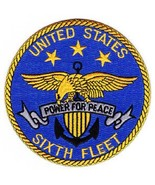 US NAVY SIXTH FLEET - 6th FLEET - MILITARY PATCH - POWER FOR PEACE - $11.99