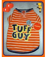 NEW XS ORANGE STRIPE COOL DUDE TUFF GUY DOG T TEE SHIRT PULLOVER APPAREL... - $9.89