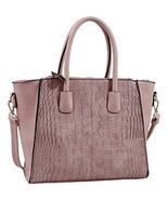 Taupe Isabelle Alligator Handbag Tote Purse with Adjustable Shoulder Strap - $51.74 CAD