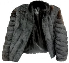 Alpakaandmore, Womens Chinchilla Rabbit Fur Jacket Black (Large) [Apparel] - $465.30