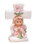 "2 pieces girl angel under a cross 4.5"" tall christening communion decora... - $7.99"