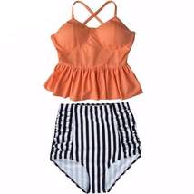High Waist Stripe Ruffle Push Women Bathing Suits - $25.98