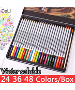 Color Pencil Water Soluble 24 36 48 Colors Drawing For Kid Painting Art ... - $19.99+