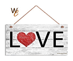 LOVE Heart Sign, Gift For Her, Valentine's Holiday Rustic 5x10 Wood Sign - $11.39