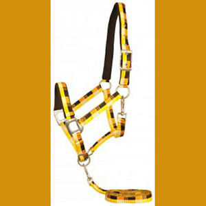 Nylon padded Halter and Lead Terra Fleece Tan Yellow Plaids Warmblood size
