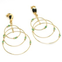 Drop Earrings Yellow Gold 750 18K, Triple Circle, Tourmaline Green, Balls image 2