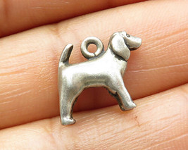 925 Sterling Silver - Vintage Petite Hollow Dog Charm Pendant- P5346 - $23.63