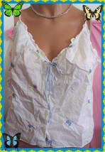 L Large Shabbie Chic Victoria's Secret  White Cotton VNeck Lace Ribbon B... - $29.69
