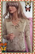 PS Liz Claiborne Beige Floral Mesh V Scallop Edge Lined Knit Top Shirt P... - $16.82