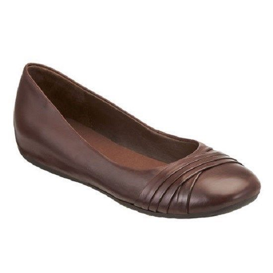 Easy Spirit Essedette Dark Brown Leather Womens Flat Shoes - Flats U0026 Oxfords