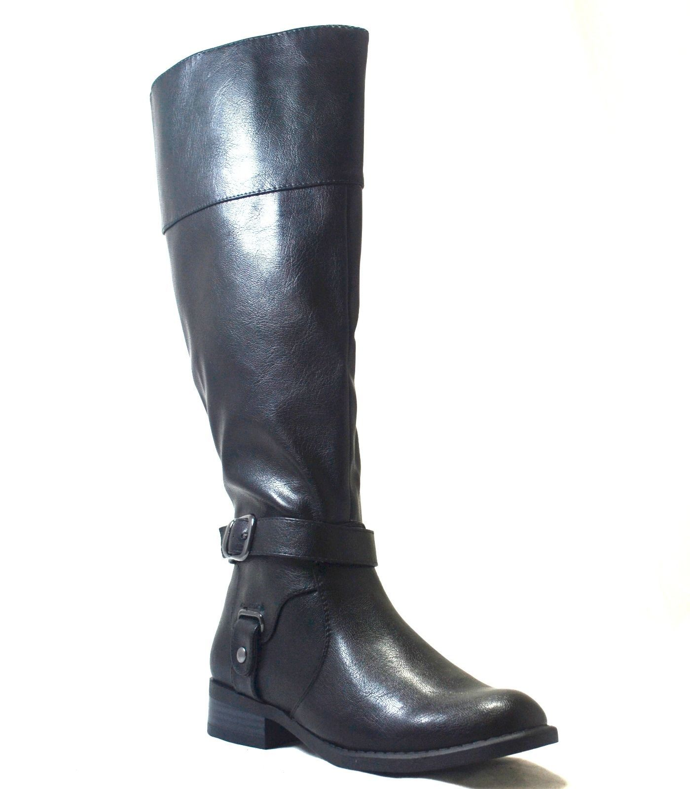 Nine West Leowm Womens Fashion Knee High Black Tall Riding Boot Boots