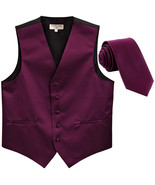 New Men's Formal Tuxedo Vest Waistcoat_Necktie solid wedding prom eggplant - $19.95