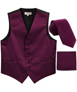 New Men's formal vest Tuxedo Waistcoat_necktie & hankie set wedding dark... - $22.50