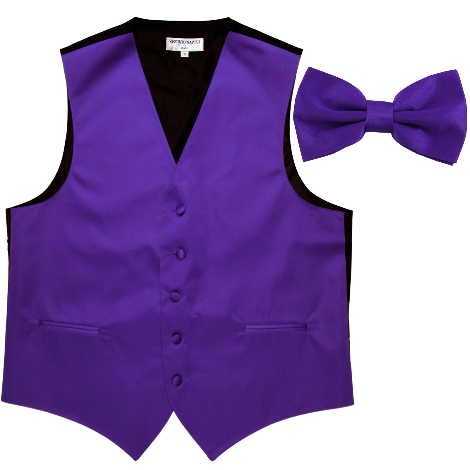 New Men's Formal Vest Tuxedo Waistcoat with Bowtie wedding prom party purple