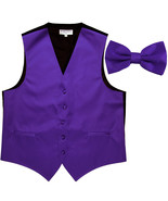 New Men's Formal Vest Tuxedo Waistcoat with Bowtie wedding prom party pu... - $19.95