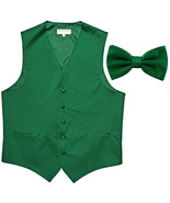 New Men's Formal Vest Tuxedo Waistcoat with Bowtie wedding party emerald... - $19.95