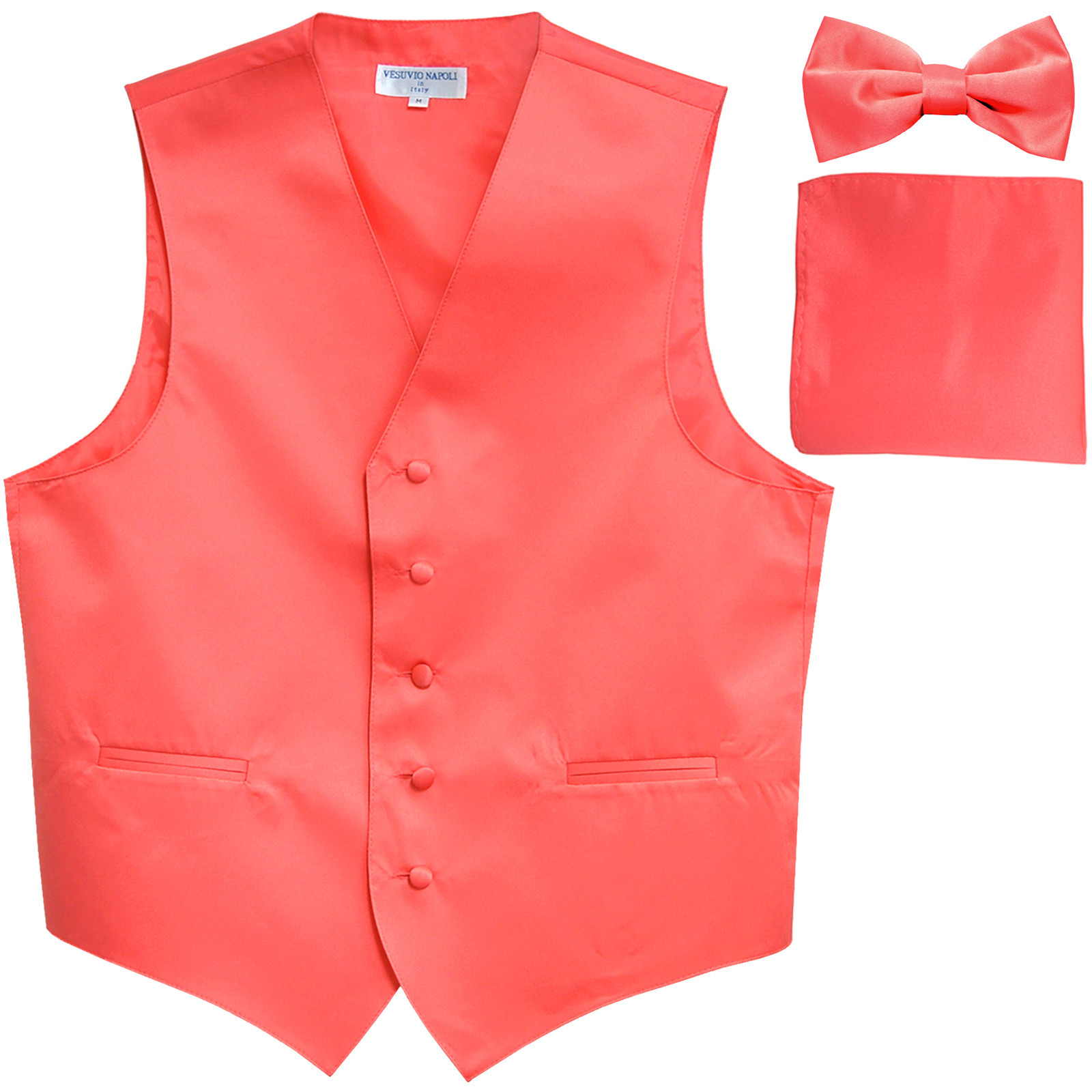 New Men's formal vest Tuxedo Waistcoat_bowtie & hankie set wedding prom coral