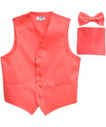 New Men's formal vest Tuxedo Waistcoat_bowtie & hankie set wedding prom ... - $22.50