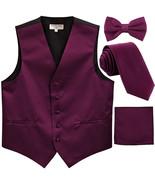 New Men's solid Tuxedo Vest Waistcoat & necktie & Bow tie & Hankie prom ... - $28.99