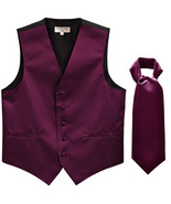 New Men's Formal Tuxedo Vest Waistcoat solid & Ascot cravat dark purple ... - $25.99