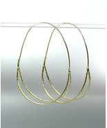 CHIC & UNIQUE Urban Anthropologie Gold Plated Double Curved Oval Hoop Ea... - $16.99
