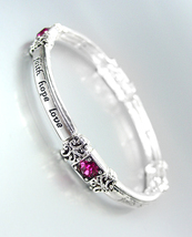 Inspirational Silver Faith Hope Love Pink Crystals Stretch Stackable Bracelet - $10.99