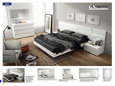 ESF Sara Bedroom Set Lacquer King Modern Contemporary Made in Spain