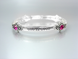 Inspirational Silver God Is Good All The Time Pink Crystals Stretch Bracelet - $10.99