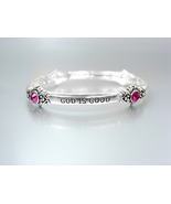 INSPIRATIONAL Silver GOD IS GOOD ALL THE TIME Pink Crystals Stretch Brac... - $10.99