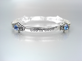 INSPIRATIONAL Silver GOD IS GOOD ALL THE TIME Blue Crystals Stretch Brac... - ₨745.65 INR