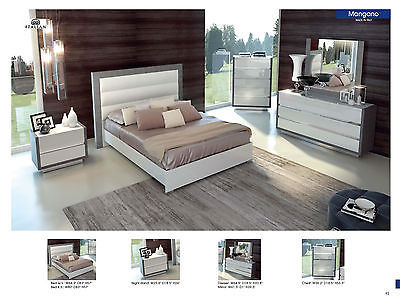 ESF Mangano Bedroom Set Lacquer Queen 5 Piece Modern Contemporary Made in Italy