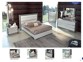 ESF Mangano Bedroom Set Lacquer King 5 Piece Modern Contemporary Made in Italy