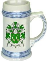 Listowski Coat of Arms Stein / Family Crest Tankard Mug - $21.99