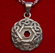 0195 Celtic infinity knot Charm Good Luck Weave Wicca Sterling silver je... - $21.05