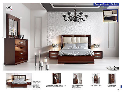 ESF Carmen Bedroom Set Lacquer Queen 5 Piece Modern Contemporary Made in Spain