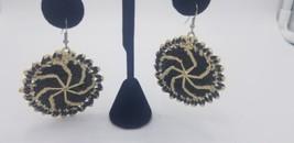 Vintage 1960-70s Handmade Black & White Spiral Woven Big Circular Earrin... - $17.38