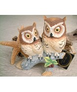 Vintage Horned Owls Andrea by Sadek Porcelain Birds 1986 - $19.95