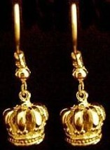 Gold Plated  Medieval Crown Earrings Silver Jewelry - $30.63