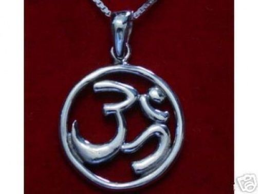 HINDU OM Sterling Silver PENDANT Charm Jewelry DETAILED